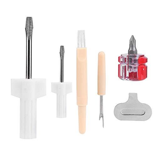 Kit de reparación de máquina de coser 5 piezas Herramienta de servicio/reparación de overlock y servidor de máquina de coser Incluye destornillador, extracción de rosca, destornillador plano y cepillo