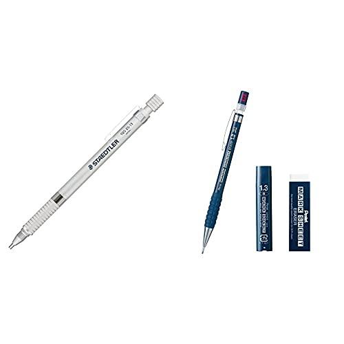 【セット買い】ステッドラー シャーペン 1.3mm 製図用シャープペン シルバーシリーズ 925 25-13 & ぺんてる マークシートシャープペン B 消しゴム 替芯セット AMZ-AM113B-SET 青
