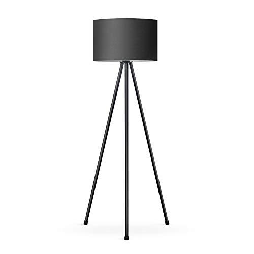 Tomons Stehlampe LED Dimmbar Stehleuchte Moderne mit Dreibeinstativ aus Metall, Standleuchte fur Wohnzimme und Schlafzimmer, Leseleuchte Bodenlampe - Schwarz