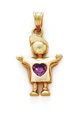 Collar con colgante de corazón de 14 quilates, color morado, 2,5 cm, joyería de regalo para mujeres