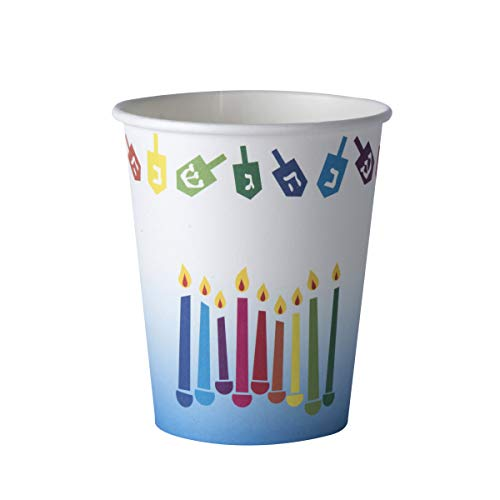 Chanukah Themed 9oz Cups - Hanukkah Paper Cups – Disposable Party Cups  Ideal Practical Design for Parties, Family Dinner and Mess free Chanukah Parties and Festival (16 Pack)