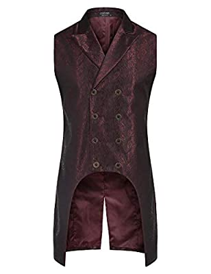 COOFANDY Men's Gothic Steampunk Vest Double Breasted Jacquard Brocade Vest Waistcoat Sleeveless Tailcoat from