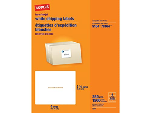 Staples White Shipping Labels 4 x 3 1/3 250 Sheets 1500 Labels