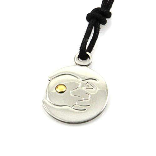 Collar de Luna en Acero y en el Punto 18 k de Oro Correa de Negro diámetro mm 16 - cll0613