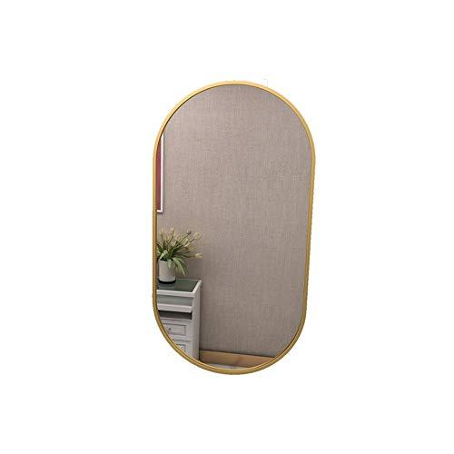 Specchio smussato da parete ovale con bordi dorati 40 x 60 cm |...
