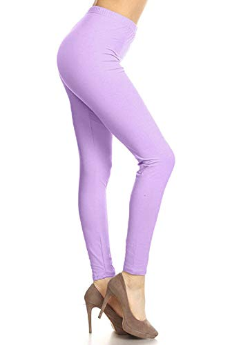 LDR128-LILAC Basic Solid Leggings, One Size