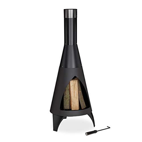 Relaxdays Terrassenofen mit Schürhaken, dekorative Feuerstelle, Gartenofen, für Holz, H x D: 120 x 45 cm, Stahl, schwarz