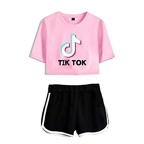 YUNVJIG Tik Tok Frauen Kurzes Kapuzenpullover Mädchen Langarm Crop Top Pullover Pullover Top Pullover,Pink+Black-XS