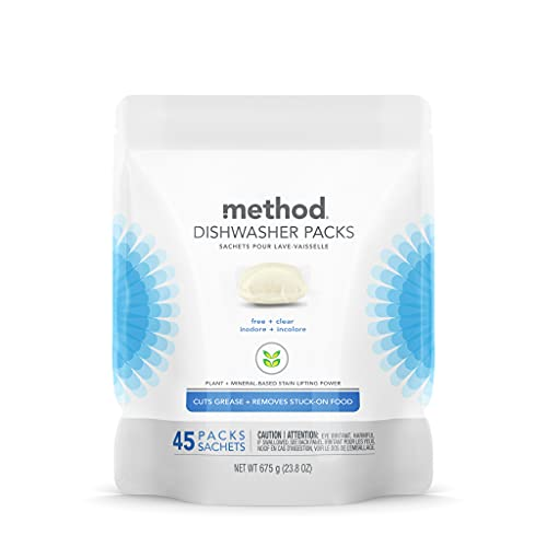 Method Dishwasher Detergent Packs, Dishwashing Rinse Aid to Lift Tough Grease and Stains, 45 Dishwasher Tabs per Package, Free + Clear - Fragrence Free, 1 Pack, Packaging May Vary