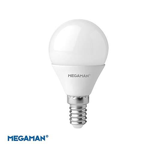 Megaman LED-Leuchtmittel, dimmbar, satte Farbe, R9, klassisches Opal, Golfball, E14 kleine Schraube, 2800 K, Warmweiß, 5,5 W