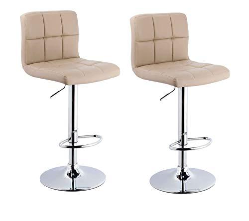 Duhome Barhocker 2X Barstuhl Kunstleder oder Stoff Tresenhocker Bar Sessel gut gepolstert höhenverstellbar mit Lehne eckig 451Y, Farbe:Cappuccino, Material:Kunstleder