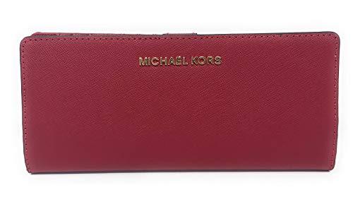 Michael Kors Jet Set Travel Flat Slim Bifold Saffiano Leather Wallet (Scarlet/Scarlet)