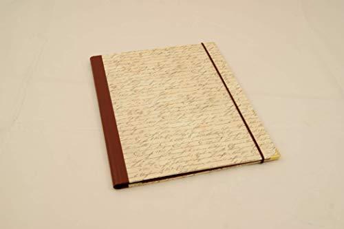 A4 Sammelmappe mit Einschlaglaschen, antike Schrift, Gummizugmappe, Eckspanner, Dokumentenmappe