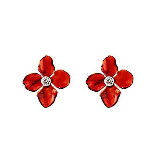 bohemio punk Pendientes de cartílagoPendientes de flores rojas Pendientes populares europeos y americanos.hueco Moda retro hipoalergénico Elegante moda fiesta regalo