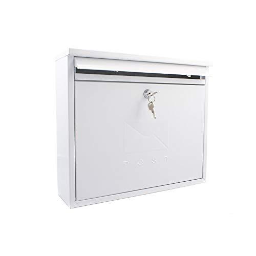 Sterling MB02 Elegance - Buzón de Pared (Acero galvanizado, con Cerradura), Blanco, 36x31x10cm