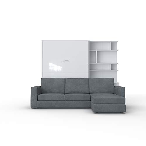 Schrankbett mit Sofa Wlappbett inklusive Ecksofa Gästezimmer Wohnzimmer Schlafzimmer 160x200 (Weiß/Weiß Glanz) (Weiß/Weiß Glanz)