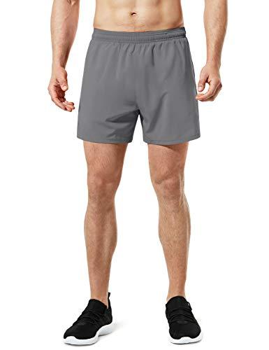 TSLA Men's Active Running Shorts, Training Exercise Workout Shorts, Quick Dry Gym Athletic Shorts with Pockets, 5 Inch Light Grey, Large