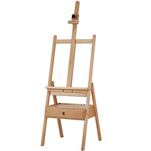 """MEEDEN Studio H-Frame Easel with Art Supply Storage Drawer - Adjustable (60""""~75"""") Solid Beech Wood Easel Stand for Artists, Students and Adults, Holds Canvas Art up to 35"""""""