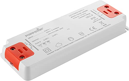 Poppstar Transformador Slim LED 24 V (para bombillas LED de 0,5 hasta 50W), transformador LED 230V AC / 24 V DC 2,08A