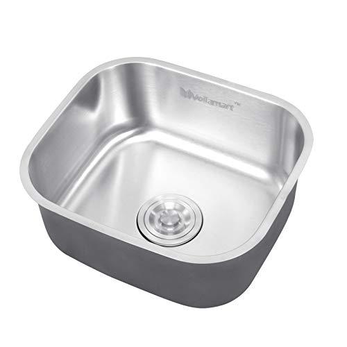 Voilamart Steel Stainless Kitchen Sink, 1.0 Single Bowl Square Sink for Undermount Topmount Drop-in Installation, 420x360mm/16.5x14.2inch