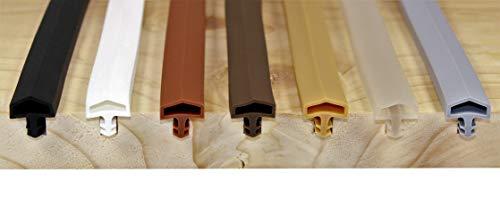 SN-TEC Zimmertürdichtung/Türdichtung/Türgummi SNTD 3001 für 4mm Nut (5 Meter) Farbauswahl: Schwarz/Weiß/Braun/Dunkelbraun/Beige/Transparent/Grau (Weiß)