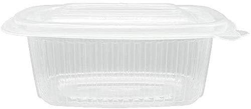 ACESA - 50 uds - Envase para Comida con Tapa bisagra Oval - Capacidad 1000 ml - Polipropileno (PP) traslúcido - Contenedores Desechables con Tapa, Apto para microondas (1000cc - 50ud)