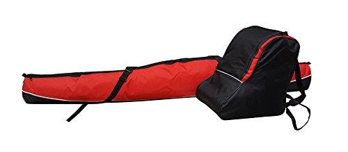 Aves24 SKITASCHE Skisack 150 160 170 180 und 190 cm für Ski mit Stöcke mit/ohne Skischuhtasche reißfeste Skibag (150cm, ROT mit Schuhtasche)