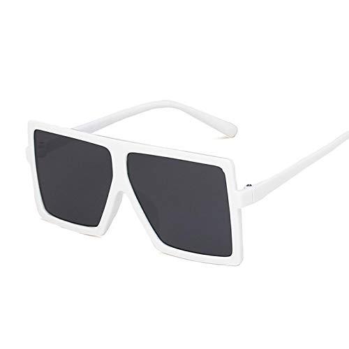 NJJX Gafas De Sol De Gran Tamaño Para Niños Gafas De Sol Cuadradas De Moda Niños Niñas Gafas De Montura Grande Al Aire Libre Espejo Degradado Blanco Gris