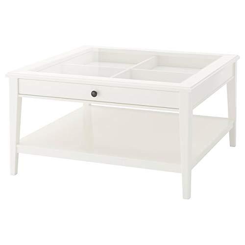 Tok Mark Traders LIATORP Couchtisch, weiß, Glas, 93 x 93 cm, robust und pflegeleicht.Couchtische & Beistelltische.Tische & Schreibtische.Möbel Umweltfreundlich