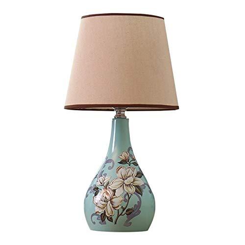 HAKLAKY Lámpara para mesita de Noche Oriental Pintado de cerámica lámpara de Mesa Pantalla de la Tela de cerámica Base Dormitorio de la lámpara Mesita de Noche Moderna Lámpara de Mesa (Color : A)