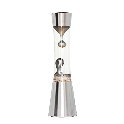 Stimmungsvolle Lavalampe in Silber 39cm inkl. Leuchtmittel Retro Design Tischleuchte Magmalampe SANDRO
