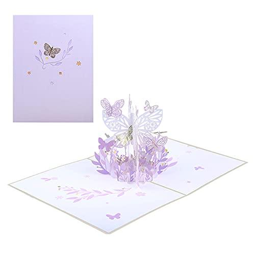 YngFfb Tarjeta De Felicitación Emergente 3d, Tarjetas De Felicitación, Ttarjeta De Felicitación Con Flores De Mariposa Púrpura, Tarjeta De Papel Con Firma Para San Valentín, Aniversario, Cumpleaños