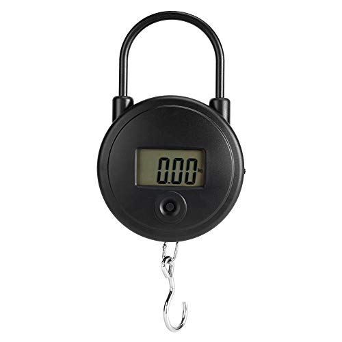 Mini báscula de bolsillo, 25 kg/55 lb Peso de sujeción Báscula para colgar Pantalla LCD de alta precisión Pantalla multipropósito de equipaje de verduras postal para la feria del mercado doméstico