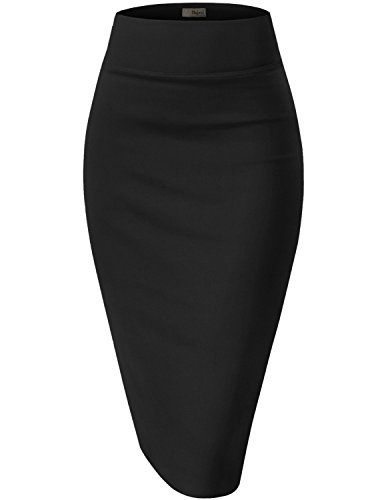 Womens Premium Stretch Office Pencil Skirt KSK45002 Black Medium