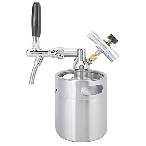 Barril de Cerveza de 2 l, Growler de Acero Inoxidable para Cerveza, Sistema de Mini Barril de Cerveza presurizado, dispensador de Cerveza portátil con medidor de presión de 2 Clases, para Cerveza