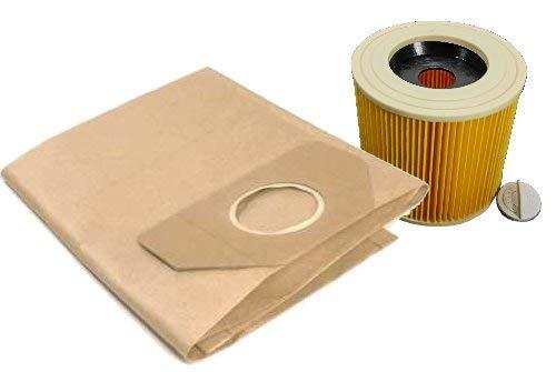 10 Filtertueten + 1 Filter im Set passend für Kärcher 6.959-130.0 + 6.414-552.0 KÄRCHER WD2, WD3, MV2, MV3, A2054, reißfeste Filterbeutel