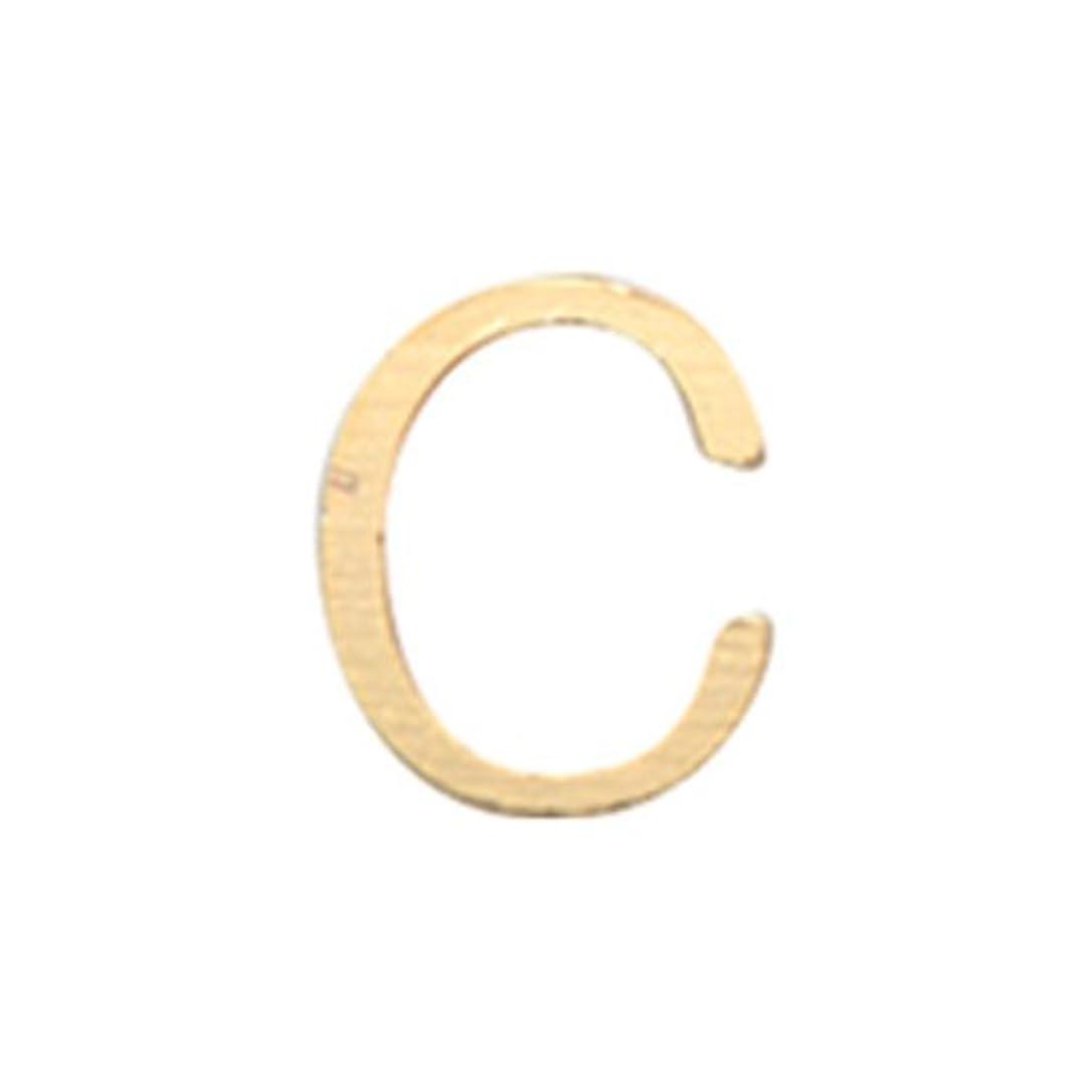 整理する不格好減るリトルプリティー ネイルアートパーツ アルファベット C ゴールド 10個