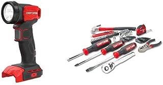 CRAFTSMAN V20 LED Work Light, Tool Only with Mechanics Tools Kit/Socket Set, 57-Piece (CMCL020B & CMMT99446)