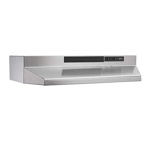 Broan-NuTone F403604 Insert with Light, Exhaust Fan for Under Cabinet Two-Speed Four-Way Convertible Range Hood, 36-Inch, Stainless Steel