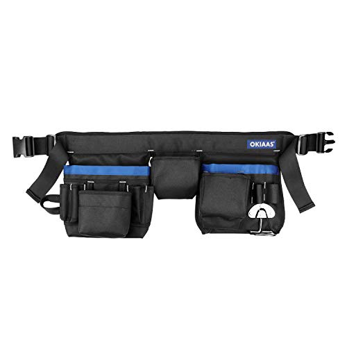 """OKIAAS Tool Belt, 21 Pockets, Adjustable Waist From 31"""" To 53"""", Heavy Duty Tool Pouch Bag For Electrician, Carpenter, Framer, Construction, Gardening And More"""
