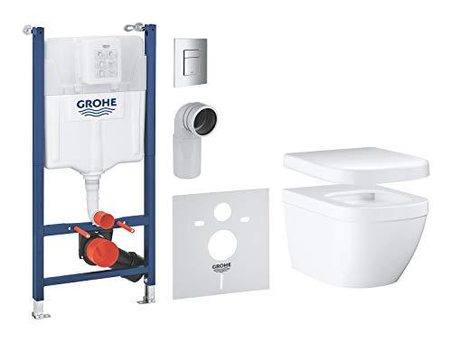 GROHE pack complet WC suspendu Solido Compact, bâti support universel Rapid SL, cuvette Euro Ceramic, plaque de commande Skate Cosmo, 39891000 (Import Allemagne)