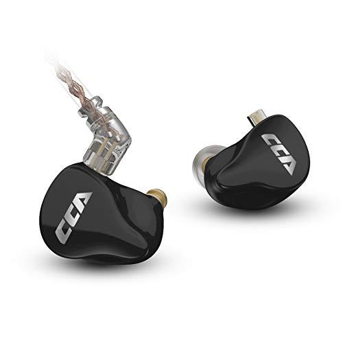 CCA CA16 7BA 1DDハイブリッド型イヤホン 金メッキ3.5mmステレオプラグ及び0.75mm2pinコネクタをもってリケーブル可能ハイエンドインナーモニター 重低音や や人間工学に基づいて設計された中華製HIFIイヤホン (WITH MIC, Black)