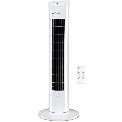 Pro Breeze Ventilador de Torre Oscilante - 60W con Temporizador y Mando a Distancia, Oscilación de 70° y 3 Modos de Funcionamiento - Altura de 76 cm