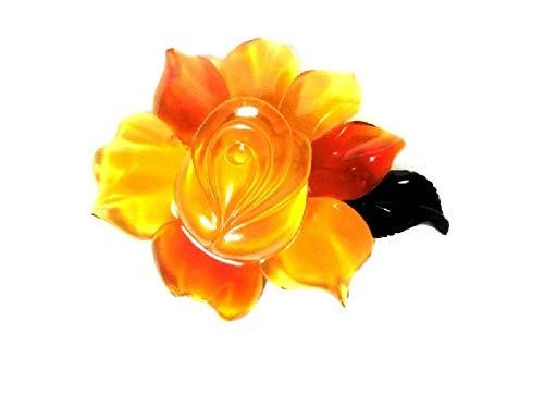 【創業146年べっ甲の菊池セール中】本べっ甲最上白甲・赤甲 ブローチ 特大(薔薇)K18−112 【全商品セール中】