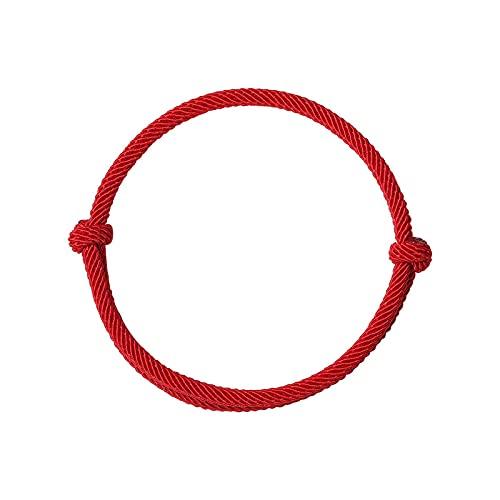 Pulsera de cuerda roja de la suerte para mujer, hombre, pulsera de hilo tejida hecha a mano, joyería de pareja, rojo