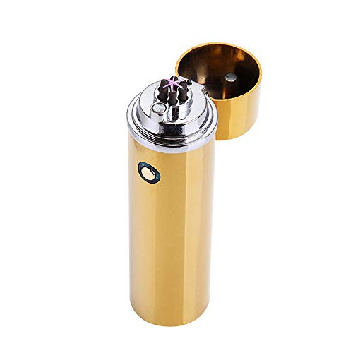 MeterMall elektrische USB opladen Triple Arc 6 Cross Plasma winddichte vlamloze aansteker goud