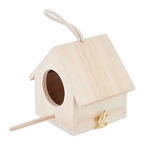 AHANDMAKER Casa para Pájaros de Madera Natural, Casa Colgante para Pájaros con Percha para Pájaros Pequeños, Fabricación de Jaulas para Pájaros O Decoración de Patio de Jardín