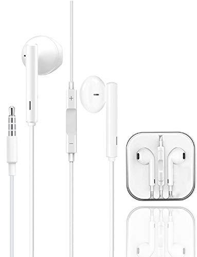 Auriculares, Cascos con Cable, Cascos para iPhone/Samsun/Huawei/XiaoMi/PC/MP3/MP4 Android y Todos los Dispositivos de Auriculares de 3,5 mm, Cascos In Ear Micrófono y Control de Volumen