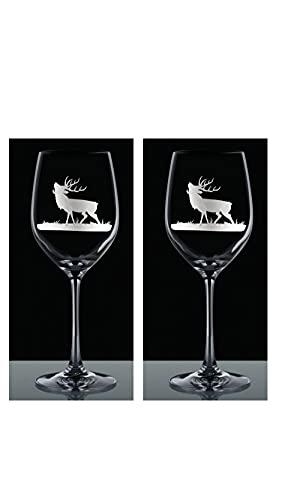 Kisslinger 2 vinglas sommar 350 ml gravyr rådjur set 2 stycken rödvinsglas