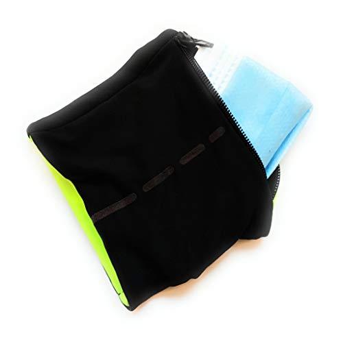 Muñequera Porta Mascarillas, para Mantenerla Limpia e Higiénica, mientras haces deporte, bicicleta, correr. (Negro y Amarillo)